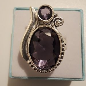 925 Silver double amethyst ring size 7
